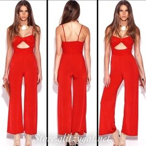 Pants - Red lace jumpsuit! Stretchy